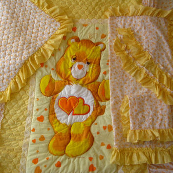 RARE Vintage Care Bears Bedspread Quilted TWIN Size Curtains Pillow Sham Set Kids Bedding 1983 Yellow Orange Hearts Ruffle Lace Used Clean
