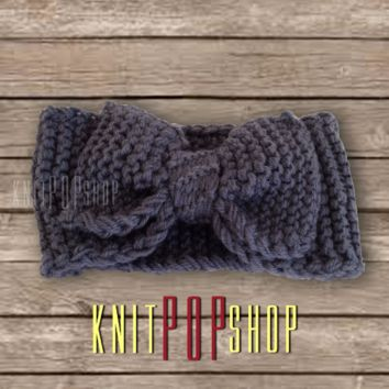 Knit Bow Headband by KnitPoPShop