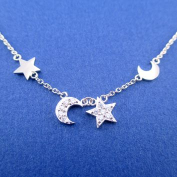 Classic Crescent Moon and Stars Shaped Rhinestone Dangling Charm Necklace