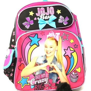 "JoJo Siwa 16"" Pink Glitter 2 Zipper Cargo Backpack Plus Plush Keychain"