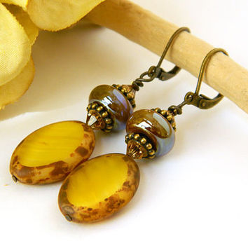 Yellow Earrings, Czech Beads, Lampwork Beads, Short Earrings, Handcrafted Earrings, Dangle Earrings, Drop Earrings, Unique Earrings