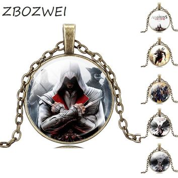 ZBOZWEI Assassins Creed Game Necklaces & Pendants Ezio Jewelry Necklace Women Men Statement Necklace Picture private custom