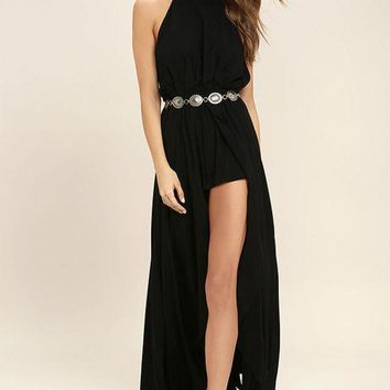 ESBON Fashion Solid Color Halter Sleeveless Backless Hem Split Maxi Dress