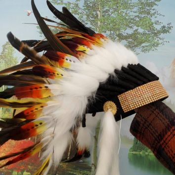 Orange Indian feather Headdress indian chief feather warbonnet halloween costumeshand made american custome