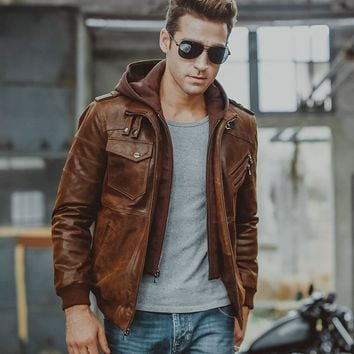 Men's Real Leather Motorcycle Jacket with Removable Hood