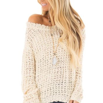 Cream Loose Knit High Low Sweater with Zip Up Back