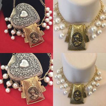 Pearl and gold cameo vintage style Cameo necklace/Free Shipping
