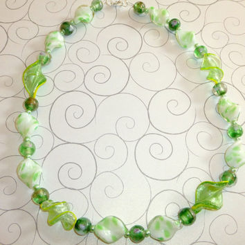 Green Grass of Summer Glass Bead Necklace. White. Yellow. Pastel Green. Kelly Green. Long Necklace. Jewelry Sale. Necklace on Sale.