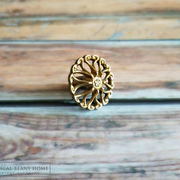 Gold Drawer Knobs | Vintage Drawer Knobs | Brass Drawer Knobs | Filigree Cabinet Knobs | Decorative Knob | Rococo Knob | French Vintage Knob