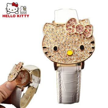 Hello Kitty Watch Clamshell Dial Kids Watches Cartoon Children's Watches For Girls Watch Clock relogio infantil reloj