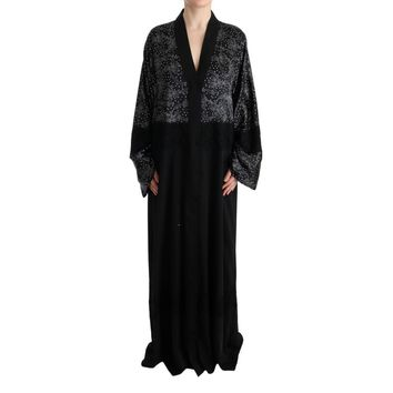 Dolce & Gabbana Black White Floral Silk Kaftan Dress