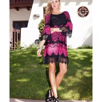 Hill Country Lace Sleeve Dress in Raspberry and Black