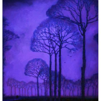 Twilight Walk in the Park - Trees - Fabric Poster Print 270