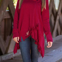 Burgundy High Low Hem Tassel Cardigan