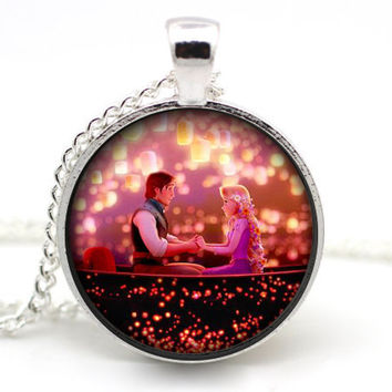 Tangled Necklace, Disney Necklace, Rapunzel and Flynn Rider, Disney Rapunzel, Tangled Lanterns, Disney Princess, Version 2