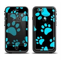 The Black & Turquoise Paw Print Apple iPhone 6/6s Plus LifeProof Fre Case Skin Set
