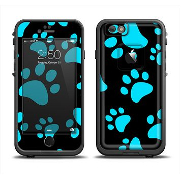 The Black & Turquoise Paw Print Apple iPhone 6 LifeProof Fre Case Skin Set