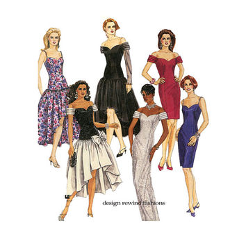 1990s EVENING GOWN Sewing Pattern Sexy Strapless Dresses Fit & Flare Party Dresses McCalls 5875 Size 6 8 10 UNCuT Womens Sewing Patterns 90s