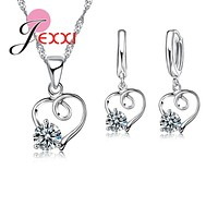 JEXXI Fashion Silver Jewerly Set For Women 925 Sterling Heart Wedding Necklace Earrings Pendants Bridal Jewelry Sets