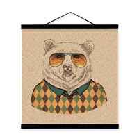 Bear Gentleman Animal Portrait Hippie Abstract A4 Wooden Framed Canvas Painting Wall Art Print Picture Poster bedroom Home Decor