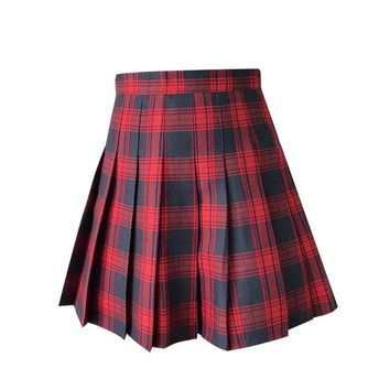 Women Plaid Skirt Preppy Style Harajuku Kawaii Cute Pleated Mini Skirt School Uniforms Saia Faldas Ladies Jupe SK5100