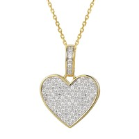 14k Gold Finish CZ Filled Women's Love Heart Pendant Set