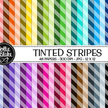 50% OFF! 48 Tinted Stripes Digital Paper • Rainbow Digital Paper • Commercial Use • Instant Download • #STRIPES-102-TINT