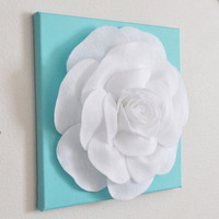 "MOTHERS DAY SALE Rose Wall Hanging- White Rose on Aqua Blue Solid 12 x12"" Canvas Wall Art- 3D Felt Flower"