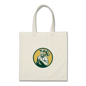 Demolition Worker Sledgehammer Circle Retro Tote Bag