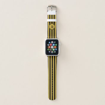 Custom Monogram Black and Gold Apple Watch Band
