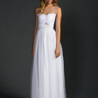 Dreamy sheer neck wedding dress with stunning soft tulle skirt and sheer French lace detailing