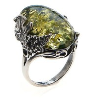 Green Amber and Sterling Silver Large Ring Sizes 5,6,7,8,9,10,11,12
