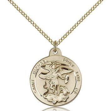 "Saint Michael The Archangel Medal For Women - Gold Filled Necklace On 18"" Cha... 617759331653"