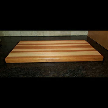 Handmade Cherry, Maple, and Purple Heart Cutting Board