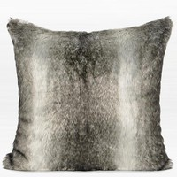 "Gradient Gray Faux Fur Pillow 22""X22"""