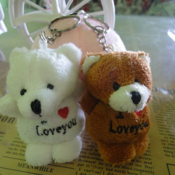 "3 color Fashion Key Chain Couple Key Chain Little Cute Key Chain Plush Toys Pendant "" I LOVE YOU """