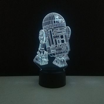 Star Wars Force Episode 1 2 3 4 5 LED Desk Creative Night light 3D Illusion  R2D2 Robot Bedroom Decoration Birthday Gifts New Year Party Favors For Boys AT_72_6