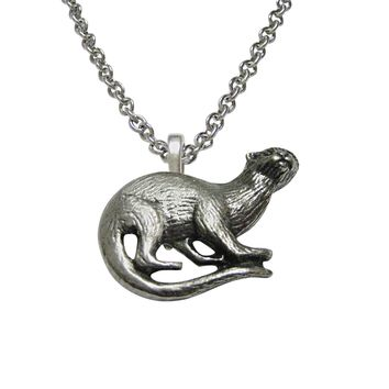 Silver Toned Otter Pendant Necklace