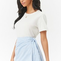Gingham Print Wrap Skirt