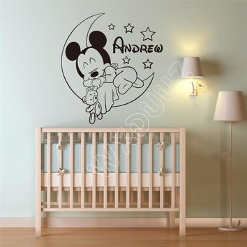 Personalized Custom Mickey Mouse Wall Decal Nursery Custom Baby Name Cartoon Home Decor wall stickers for kids rooms B607
