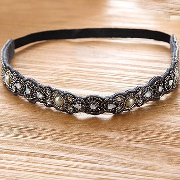 Metting Joura Vintage Bohemian Ethnic Grey Seed Beads  Knitted Flower Elastic Headband Hair Band Hair Accessories