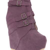 Fahrenheit Purple Buckle Wedge Boot