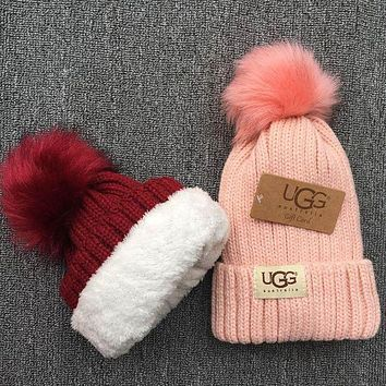 UGG Popular Women Men Warm Wool Thick Knit Pom Hat Cap Pink I