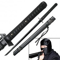 "NINJA GEAR : 27"" Black Stainless Steel Blade Ninja Sword"