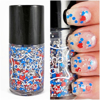 Work of Heart Nail Polish - Red Hearts, Blue Hex, and Grey Glitter