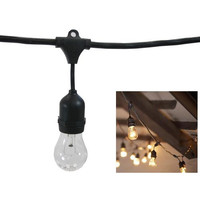 """Metro Commercial String Lights (15 Sockets w-15 A-19 25W Clear Bulbs, 48 Ft Cord)"""