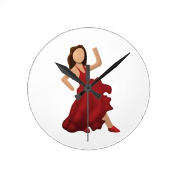 Dancer Emoji Round Clocks