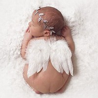 Baby Newborn Photography Props Accessories Baby Girls White Angel Feather Wings Feather Baby Photo Props Newborn