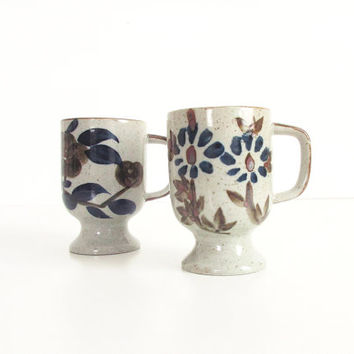 Vintage Stoneware Coffee Mugs -- Pair of 2 Footed Mugs -- 70s Speckled Stoneware Mugs with Blue and Brown Floral Designs -- Boho Kitchen