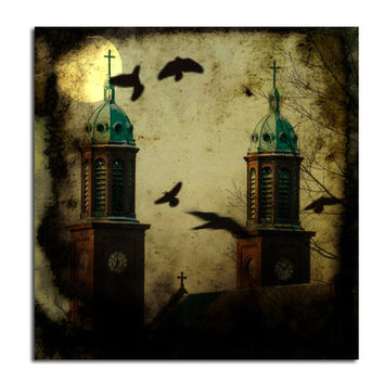 Dark Urban, Crosses, Steeples, Gothic Church, Aged Art Image, Flying Ravens, Blackbirds, Crows, Moon - Midnight Birds